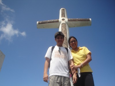 Hubby and Wifey under the huge cross at Sunken Cemetery in Camiguin