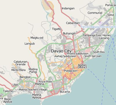 A view of Davao City on OpenStreetMap