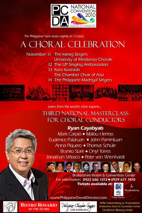 A Choral Celebration on November 11-14 at the Brokenshire Resort & Convention Center, during the PCDA National Convention 2010.
