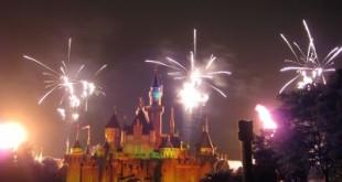 Fireworks display at Sleeping Beauty's castle in Disneyland Hong Kong