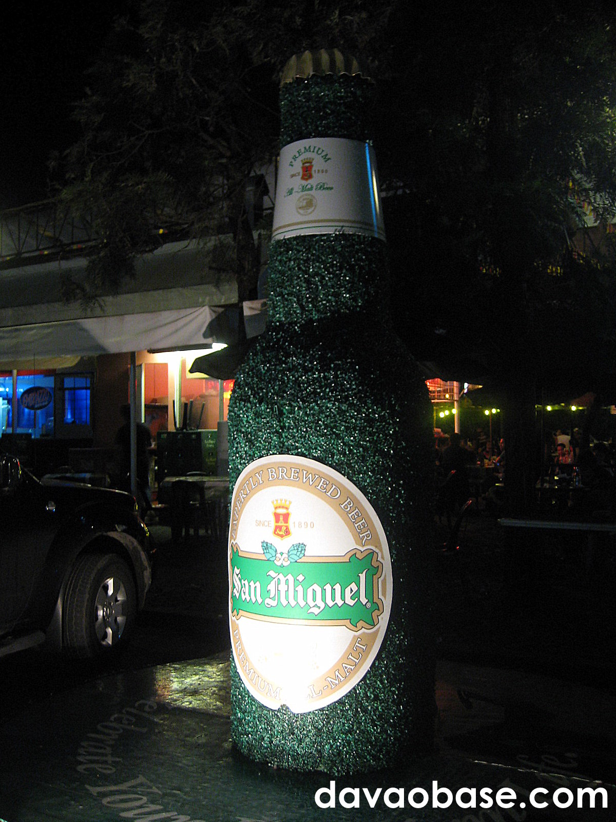 A giant San Miguel Premium All Malt Beer bottle at Matina Town Square!