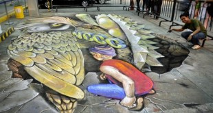 3D chalk drawing of Philippine Eagle and durian at NCCC Mall Davao Parking Lot