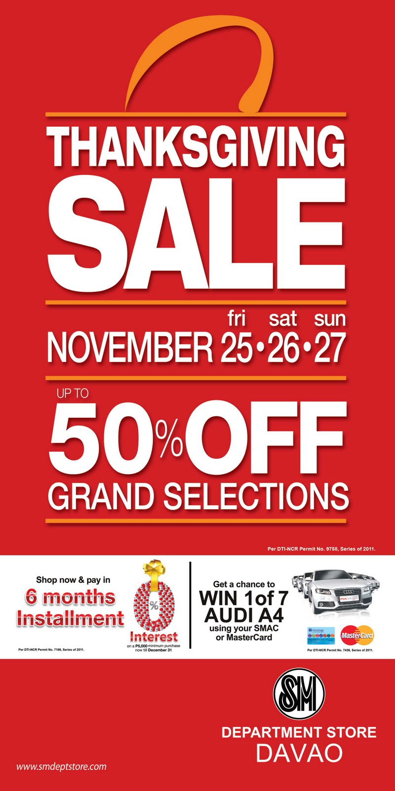 SM City Davao Thanksgiving Sale on November 25-27, 2011