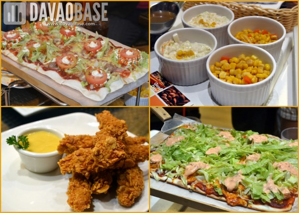 Peri-Peri food gallery (clockwise from top left): Bacon Cheeseburger Pizza, Corn and Carrots and Coleslaw, Shrimp Diablo Pizza, and Cornflaked Chicken Tenders with Honey Mustard Sauce