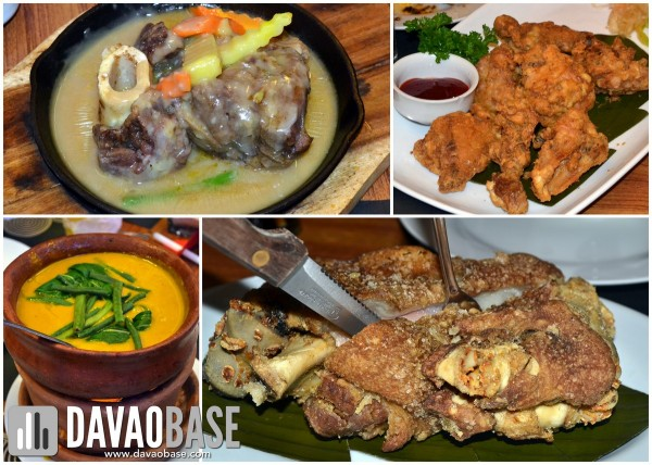 Archipelago 7107 main meat dishes (clockwise from top left): Bulalo Steak, Crispy Chicken, Crispy Pata, Kare-Kare