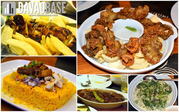 Archipelago 7107 dishes (clockwise from top left): Inihaw na Pusit, Chicharon Bulaklak, Laing, Dinuguan, Ilocano Rice