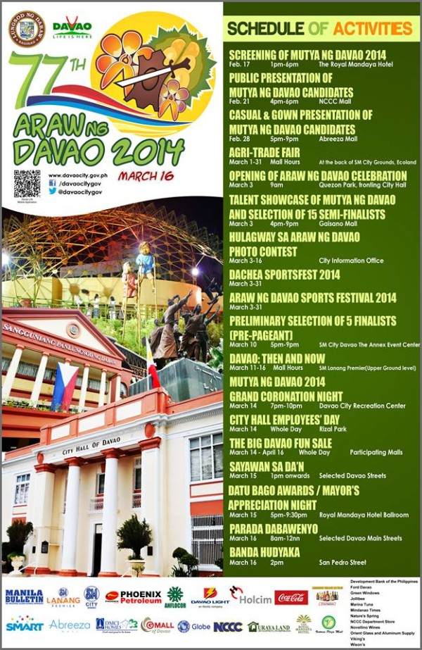 Araw ng Dabaw 2014 schedule of activities