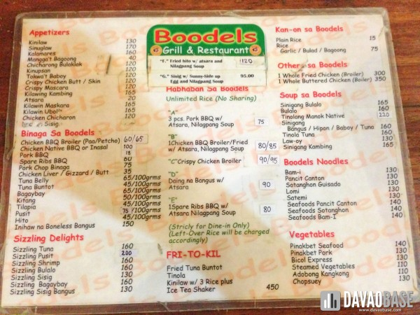 Boodels menu 1