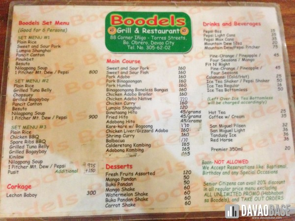 Boodels menu 2