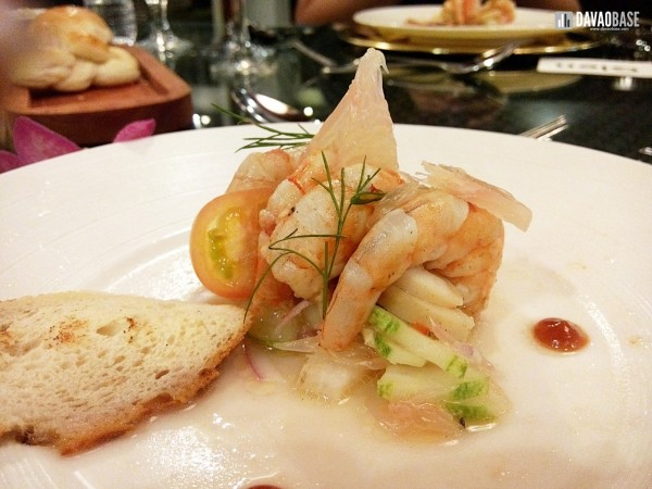 Ceviche of prawn and sword fish with grilled calamari and pomelo
