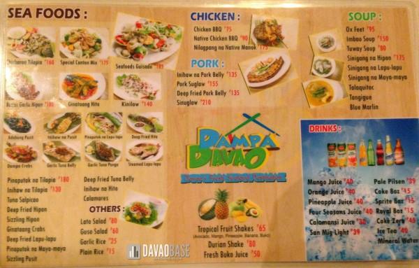 Dampa Davao menu