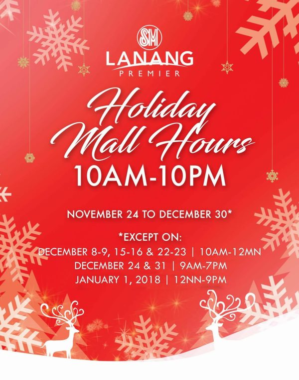 SM Lanang Premier holiday mall hours