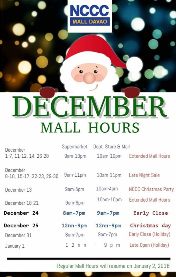 NCCC Mall Davao holiday mall hours