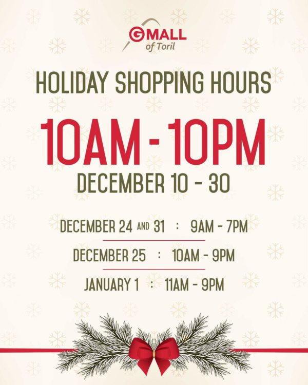 Gaisano Mall of Toril holiday mall hours