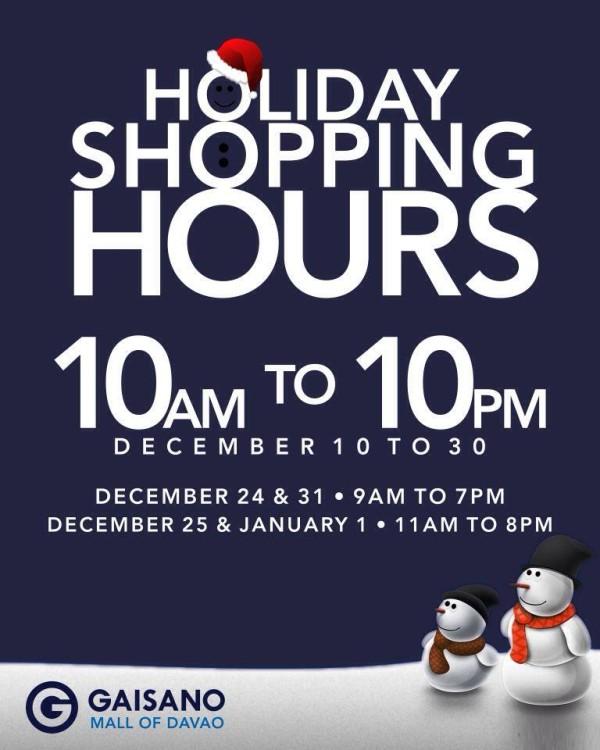 Gaisano Mall holiday mall hours