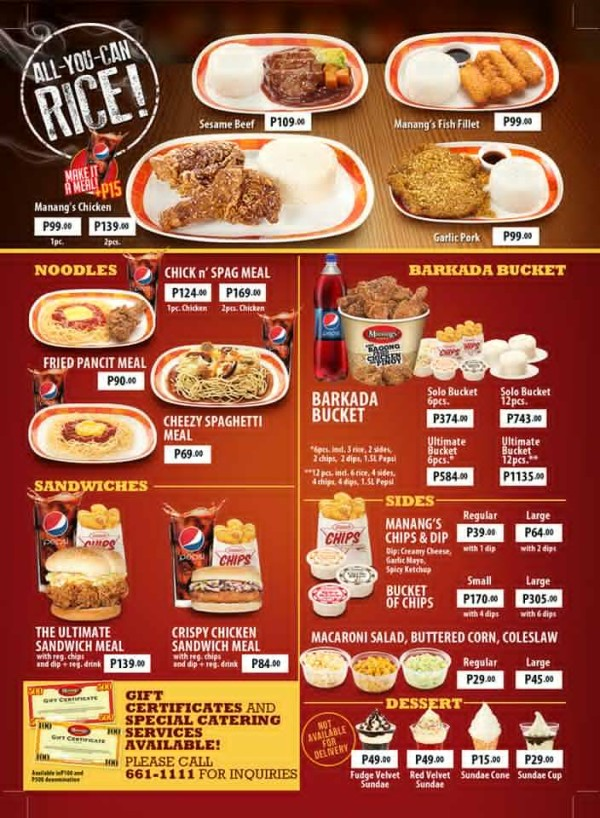Manang's Chicken menu and prices