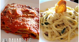 Morisco dishes Eggplant Parmigiana and House Pasta