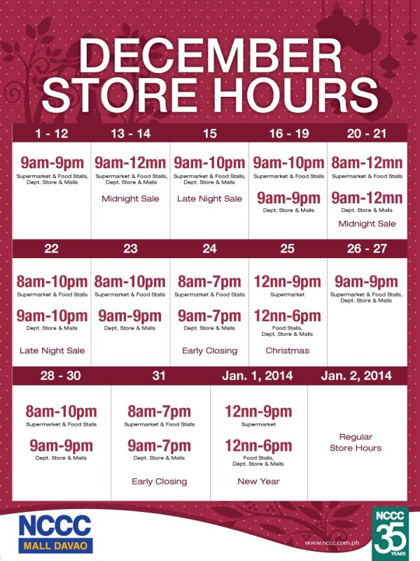 NCCC December mall hours