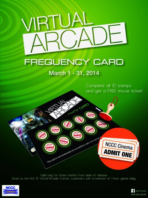 Get a Virtual Arcade Frequency Card from NCCC B3 and complete all 10 stamps to get a FREE movie ticket from NCCC Cinemas.