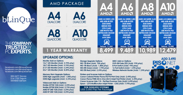 AMD packages at Blinque Computer Sales