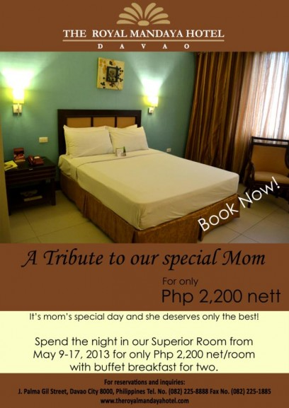 Royal Mandaya Hotel Mothers Day promo