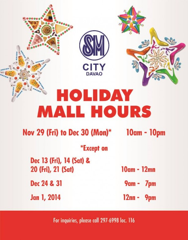 SM Ecoland Christmas mall hours