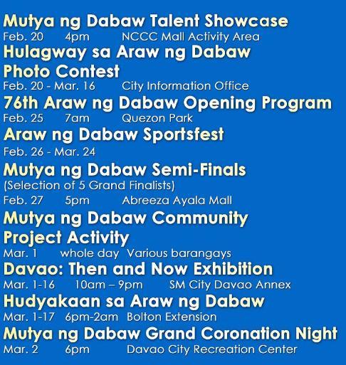 Araw ng Dabaw Schedule of Activities (Part 1): Mutya ng Dabaw, Hulagway sa Araw ng Dabaw, and Hudyakaan