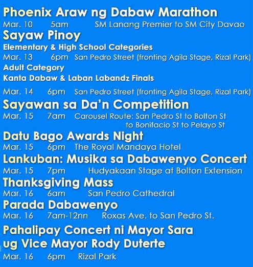 Araw ng Dabaw Schedule of Activities (Part 2): Marathon, Sayaw Pinoy, Sayawan sa Dan, Lankuban, and Pahalipay Concert