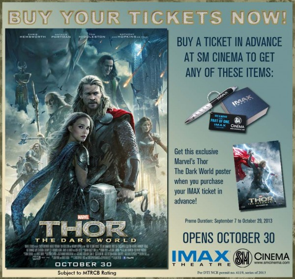 Thor The Dark World get freebies for purchase of advance IMAX tickets