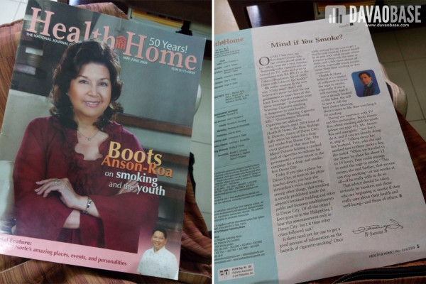 Health and Home Magazine March 2009 issue mentioned Davao City's anti-smoking ordinance