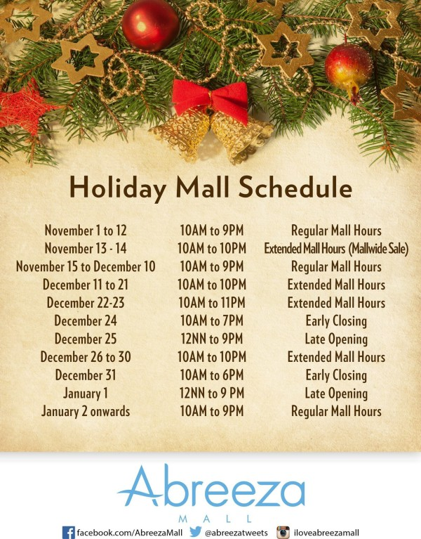 christmas mall hours 2015 abreeza mall