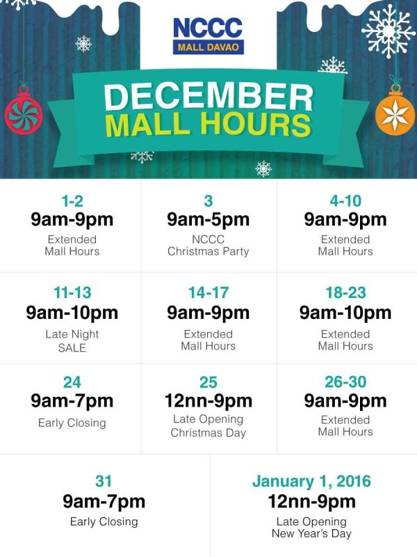 christmas mall hours 2015 nccc mall davao