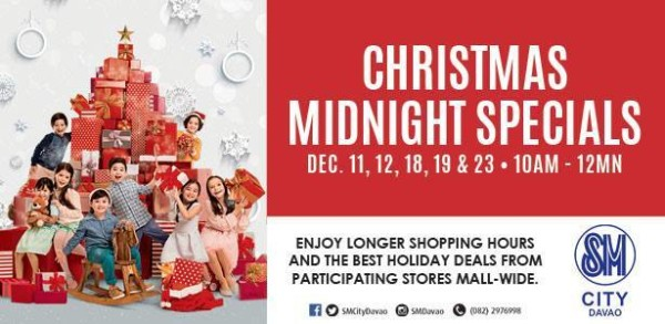 christmas mall hours 2015 sm city davao midnight sale