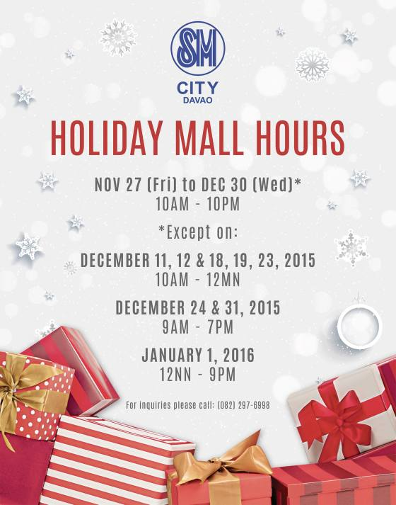 christmas mall hours 2015 sm city davao