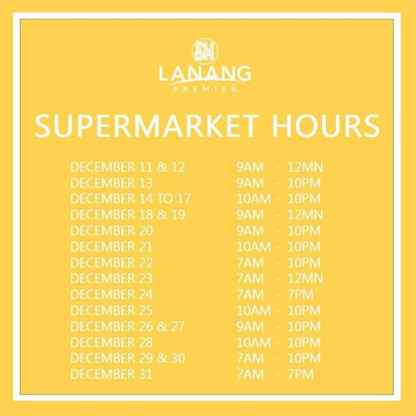 christmas mall hours 2015 sm lanang premier