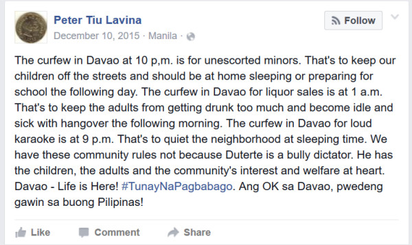 curfew for minors peter tiu lavina facebook post