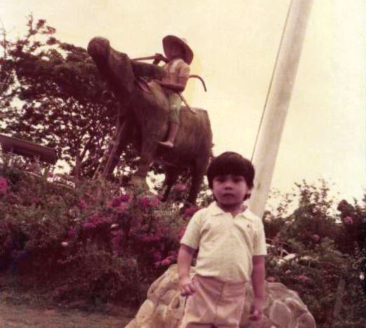 That's me with the carabao statue at GAP Farm Orchard Resort.