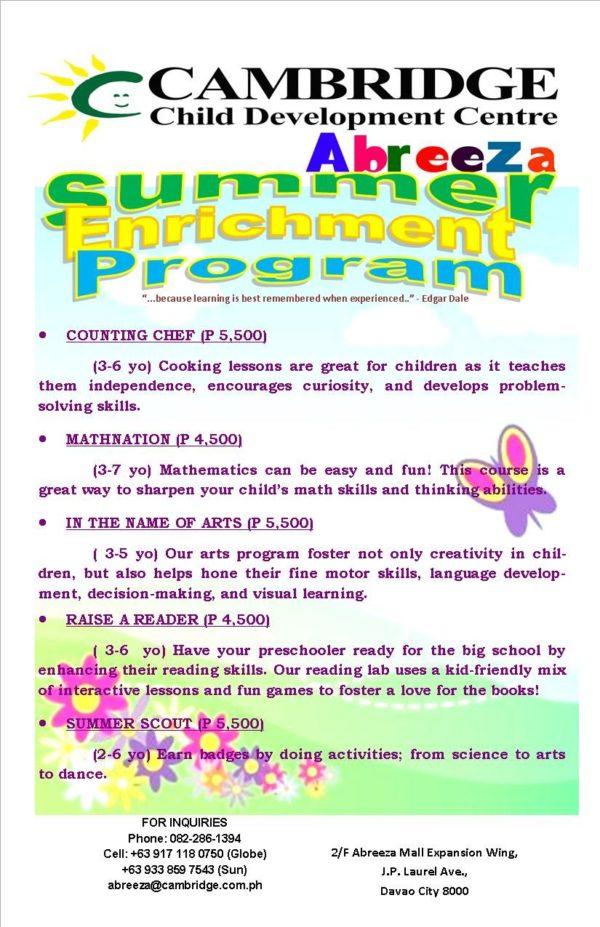 davao summer classes 2017 cambridge