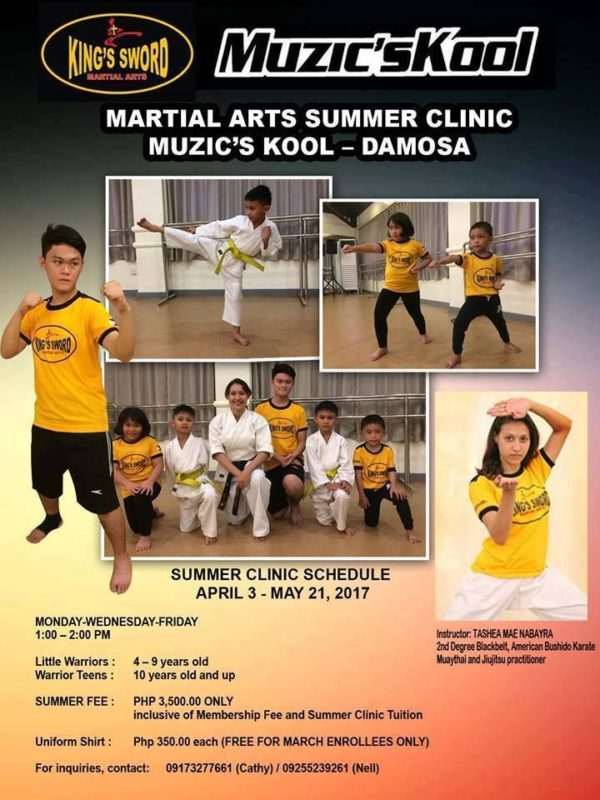 davao summer classes 2017 muzicskool kings sword martial arts