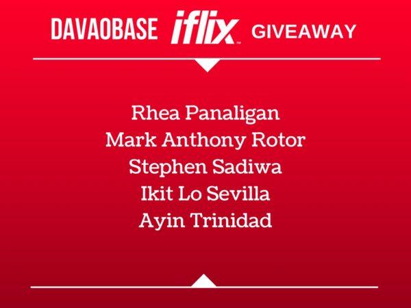 davaobase iflix voucher code giveaway winners