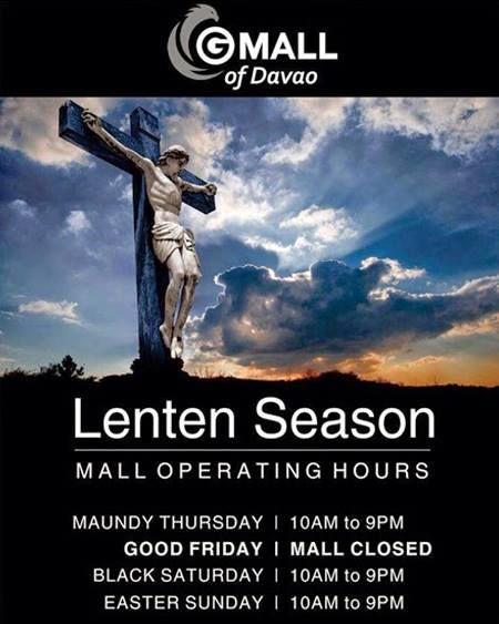 holy week mall hours gaisano mall davao
