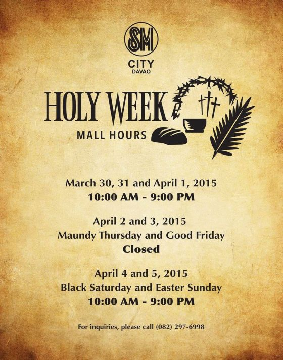 holy week mall hours sm city davao
