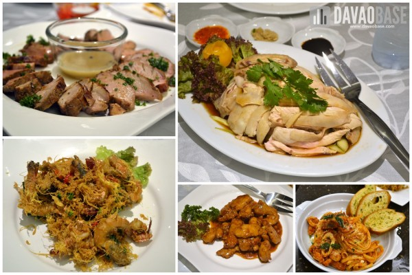 First dinner at Horizon Cafe in Injap Tower Hotel. Clockwise from top left: Pork Medallion, Hainanese Chicken (Fragrant Rice not in picture), Creamy Seafood Marinara, Imperial Pork Ribs, and Deep Fried Buttered Prawns.