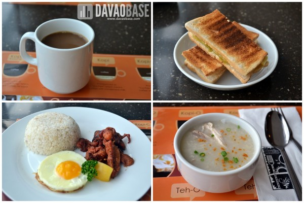 Breakfast at Injap's Horizon Cafe. Clockwise from top left: Kopi (coffee with condensed milk), Kaya Toast (with coconut jam), Chicken Congee, and Tosilog