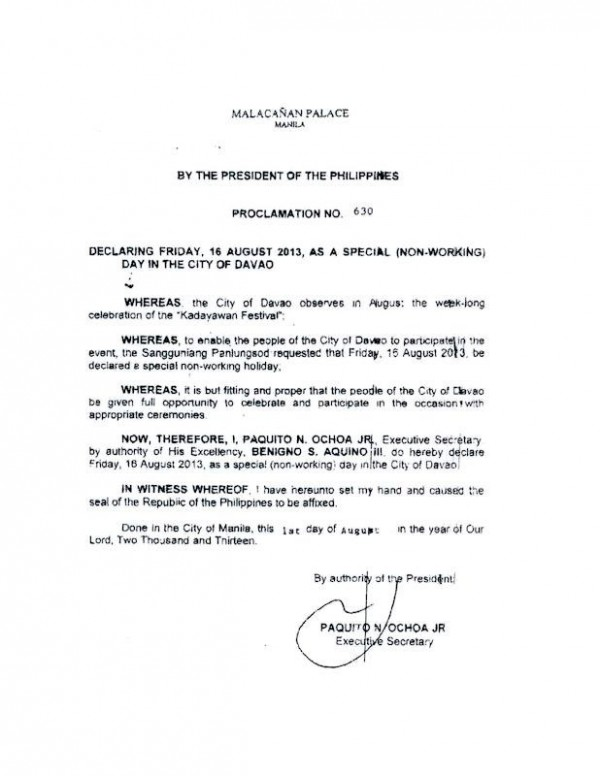 August 16 special non-working holiday Kadayawan festival