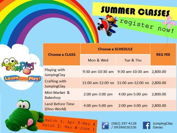 jumpingclay davao summer class schedule