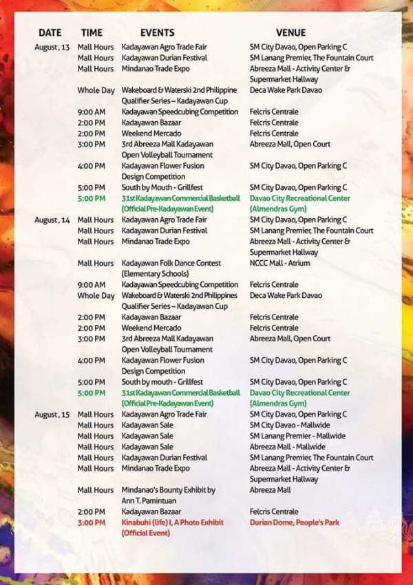kadayawan 2016 schedule of events 1