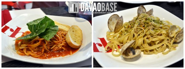 lechon pasta and pasta de davao at RBG bar and grill