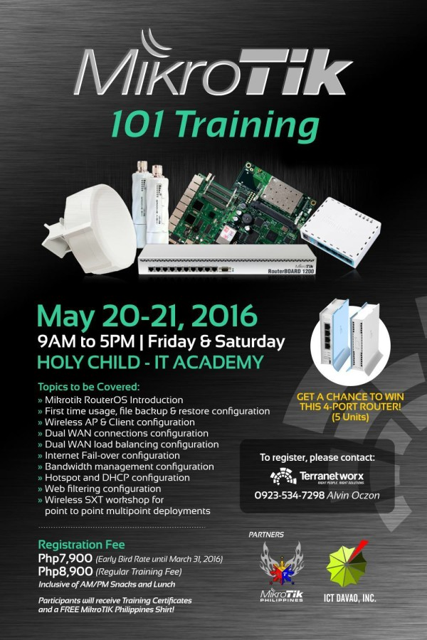 mikrotik 101 training by terranetworx davao