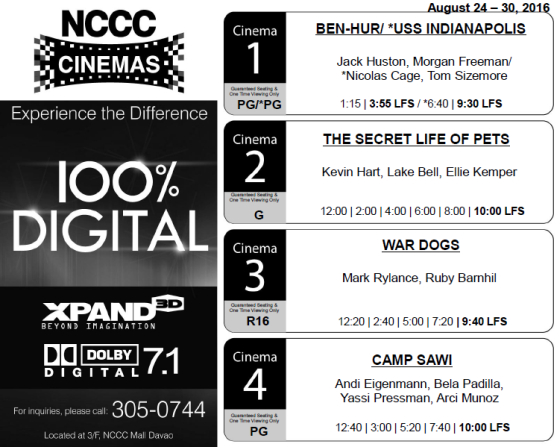 nccc mall davao cinema schedule aug 24 2016